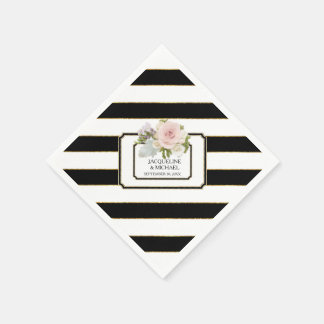 Modern Black n White Striped Rose Bridal Shower Disposable Napkin