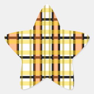 Modern black orange yellow and white plaid stickers
