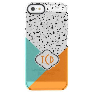 Modern Black Paint Splatter & Geometric Shapes Clear iPhone SE/5/5s Case
