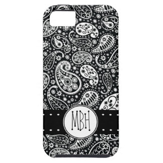 Modern Black Paisley with Personalization iPhone 5 Case