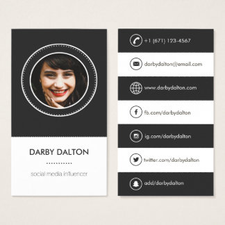 Modern Black Photo Social Media Business Card