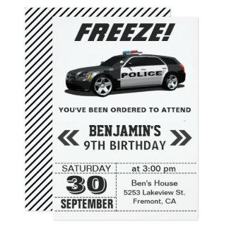 Modern Black Police Car Birthday Party Invitation