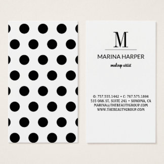 Modern Black Polka Dots Initial Template Business Card