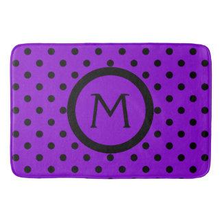Modern Black Polka Dots on Purple Monogram Bath Mat