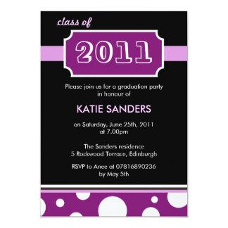 Modern Black & Purple Graduation Party Card