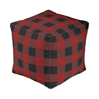 Modern black red checkered buffalo plaid pouf
