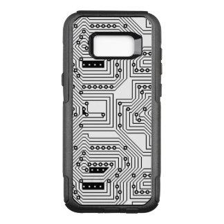 Modern Black Retro Computer Circuit Board Pattern OtterBox Commuter Samsung Galaxy S8+ Case