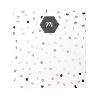 Modern black rose gold brushstrokes confetti notepad