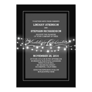 modern black string lights wedding invitation