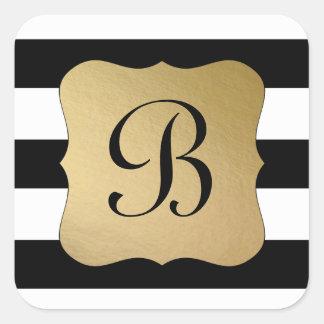 Modern Black Stripe, Gold Tag Initial Square Sticker