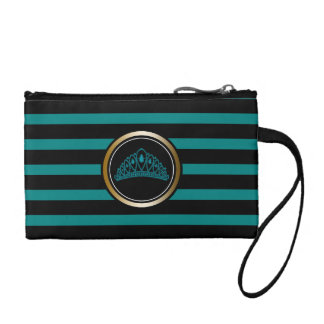 Modern Black Stripe Teal Gold Princess Tiara Crown Coin Purse