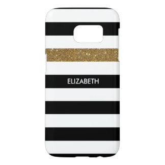 Modern Black Stripes FAUX Gold Glitz and Name