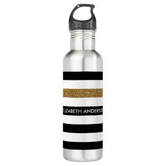 Modern Black Stripes FAUX Gold Glitz and Name 710 Ml Water Bottle