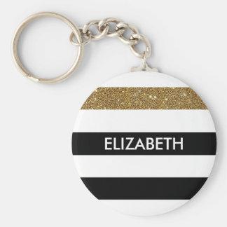 Modern Black Stripes FAUX Gold Glitz and Name Basic Round Button Key Ring