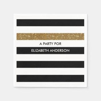 Modern Black Stripes FAUX Gold Glitz and Name Disposable Napkins