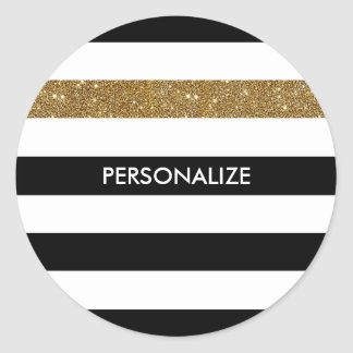 Modern Black Stripes FAUX Gold Glitz and Name Round Sticker