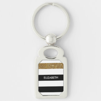 Modern Black Stripes FAUX Gold Glitz and Name Silver-Colored Rectangle Key Ring