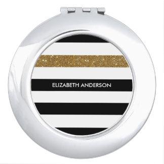 Modern Black Stripes FAUX Gold Glitz and Name Vanity Mirrors