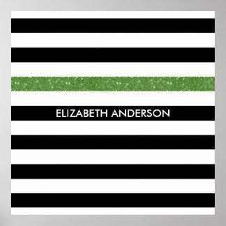 Modern Black Stripes FAUX Green Glitz and Name Poster