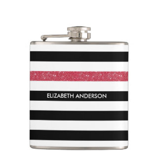 Modern Black Stripes FAUX Red Glitz and Name Hip Flask