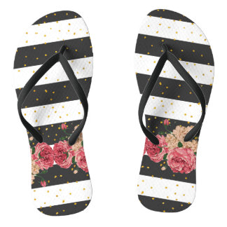 Modern black stripes gold faux glitter floral thongs