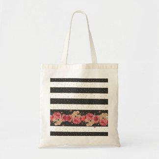 Modern black stripes gold faux glitter floral tote bag