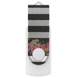 Modern black stripes gold faux glitter floral USB flash drive