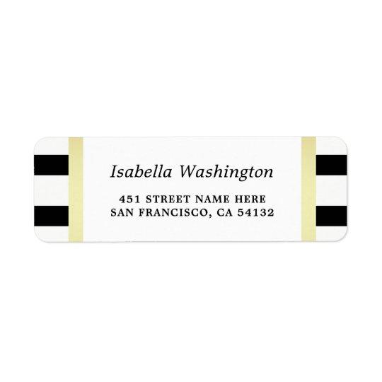 Modern Black Stripes Gold Floral Wedding Party Return Address Label