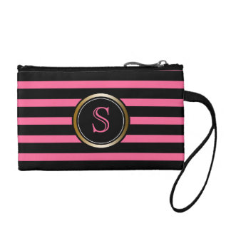 Modern Black Stripes Gold Pink Monogram Girly Coin Purse