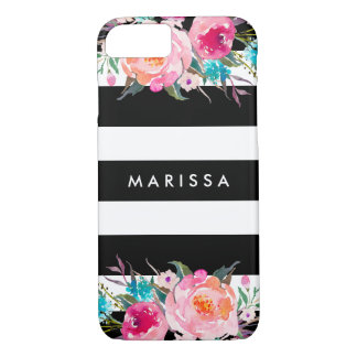 Modern Black Stripes Pink Floral Watercolor iPhone 8/7 Case