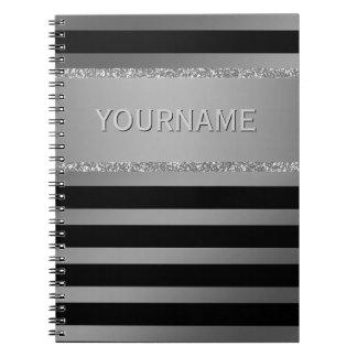 Modern Black Stripes Silver Glitter Personalized Notebooks