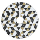 Modern Black, White, and Faux Gold Triangles Brushed Polyester Tree Skirt
