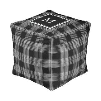 Modern black white checks buffalo plaid monogram pouf