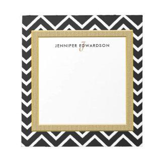 Modern black white chevron pattern monogram name notepad