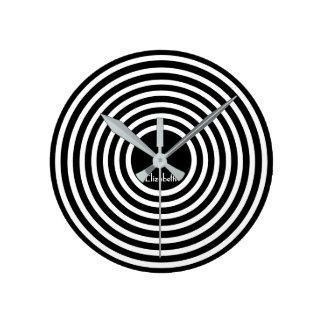 Modern Black White Circles Custom Name Monogram Round Clock