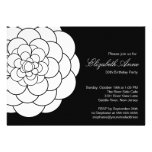 Modern Black white Dahlia Bloom Birthday Party Personalised Announcement