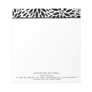 Modern Black White Dahlias Professional Notepad