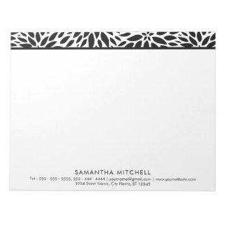 Modern Black White Dahlias Professional Notepad A4