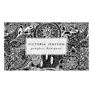 Modern black white dreamcatcher floral pattern pack of standard business cards