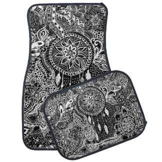Modern black white dreamcatcher floral pattern car mat