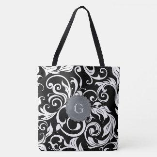 Modern Black White Floral Wallpaper Swirl Monogram Tote Bag