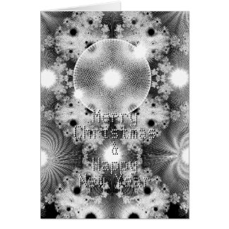 Modern Black White Fractal Stars Pattern Christmas Card
