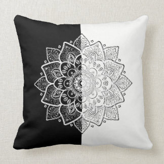 Modern Black & White Geometric Mandala Design Throw Pillow