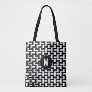 Modern Black & White Geometric Pattern | Monogram Tote Bag