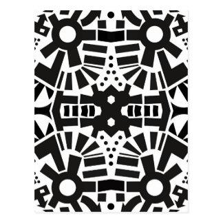 Modern Black & White Geometric Pattern Postcard