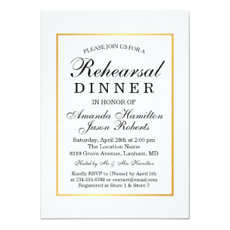 Modern Black & White Gold border Rehearsal dinner Card