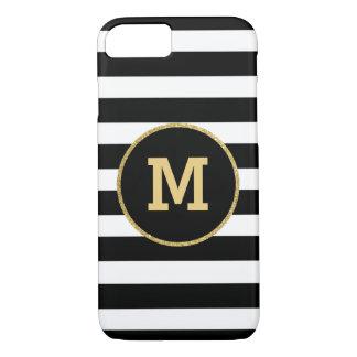Modern Black White Gold Monogram iPhone 7 Case