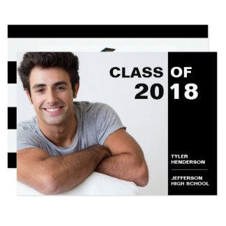 Modern Black White Graduation Photo Party Invite