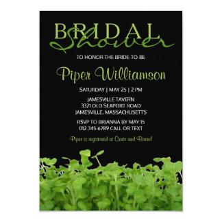 Modern Black White Green Bridal Shower Invitations