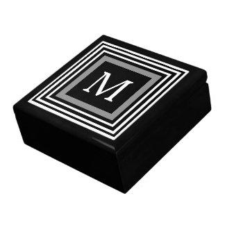 Modern Black White Grey Monogram Gift Box